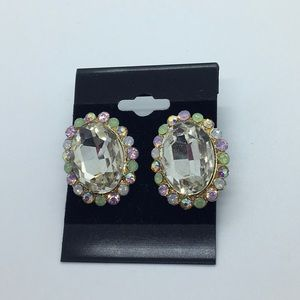 Large crystal stone earrings with pastel crystals